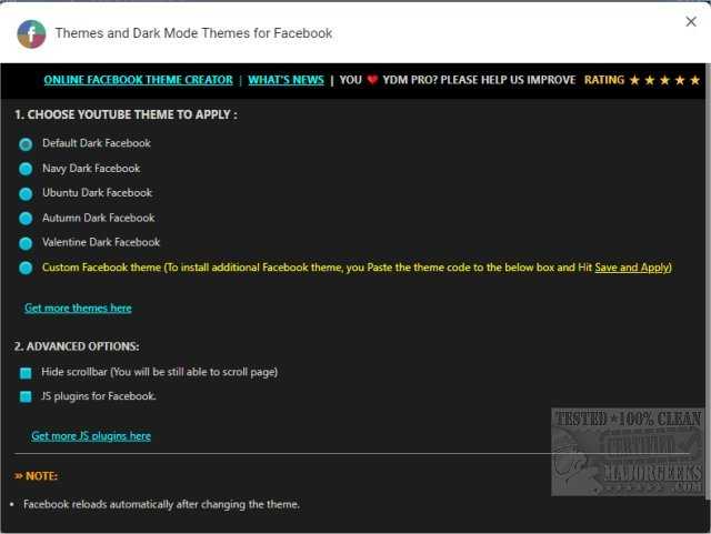 Themes and Dark Mode Themes for Facebook (Chrome) 1 0 1 1